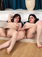 Hairy lesbians play with hairy twats and lick them
