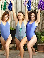 Three funny hairy females arrange a hot nude show